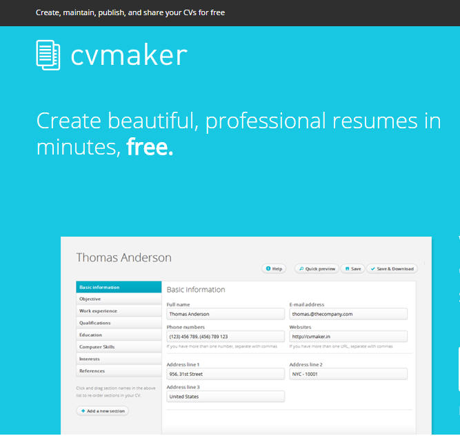 Screenshot of a headline from CVMaker: Create beautiful, professional resumes in minutes, free.