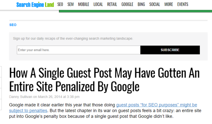 Screenshot of a headline from Search Engine Land: How a Single Guest Post May Have Gotten an Entire Site Penalized by Google