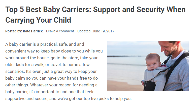 Screenshot of a headline from ASecureLife.com: Top 5 Baby Carriers: Support and Security When Carrying Your Child