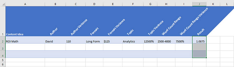 Screenshot of an Excel document with an added column for the average of the variances.