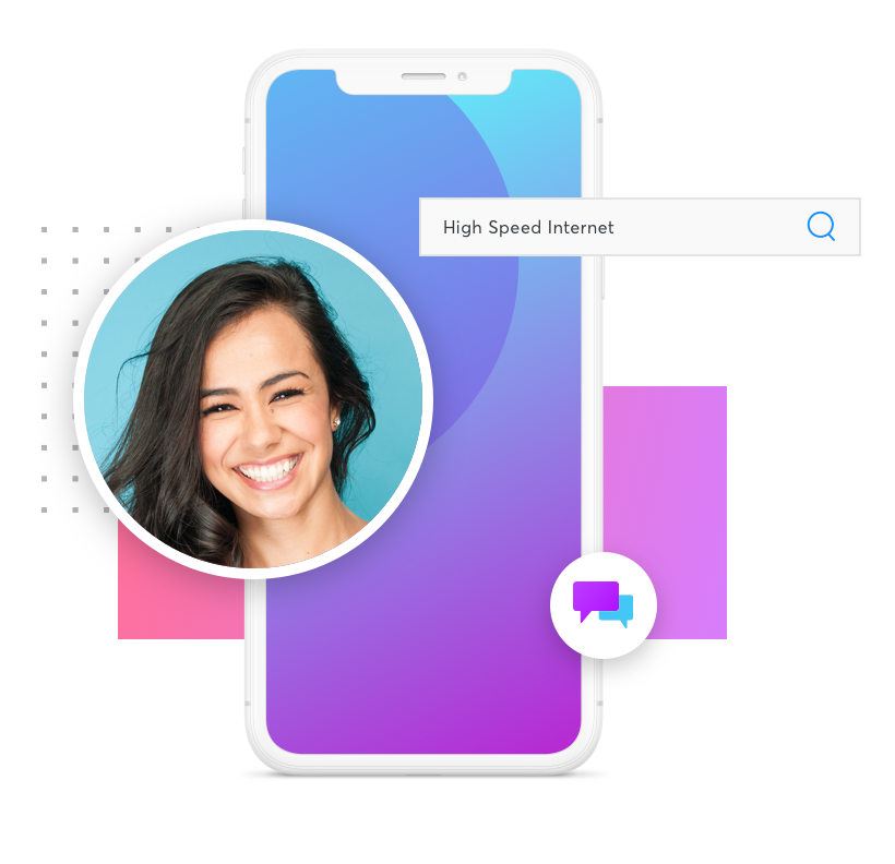 "Graphic of a cellphone with a purple and blue gradient, a search bar with the words ""High Speed Internet"" and a circular inset image of a smiling woman."