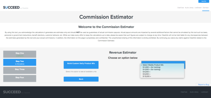 Screenshot of the Succeed Commission Estimator