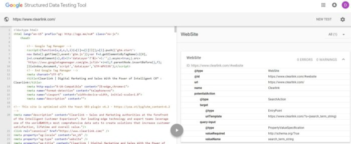 Screenshot of Google's structured data testing tool for Clearlink.com