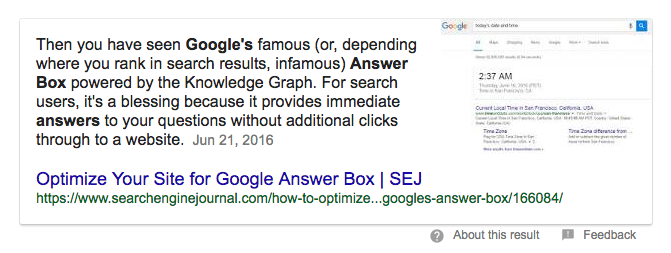 Screen capture of a Google Answer Box, explaining what the Answer Box is.