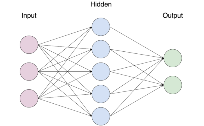 A neural network with various nodes within input, hidden, and output layers, demonstrating the complex relationship between various data points fed to a computer.