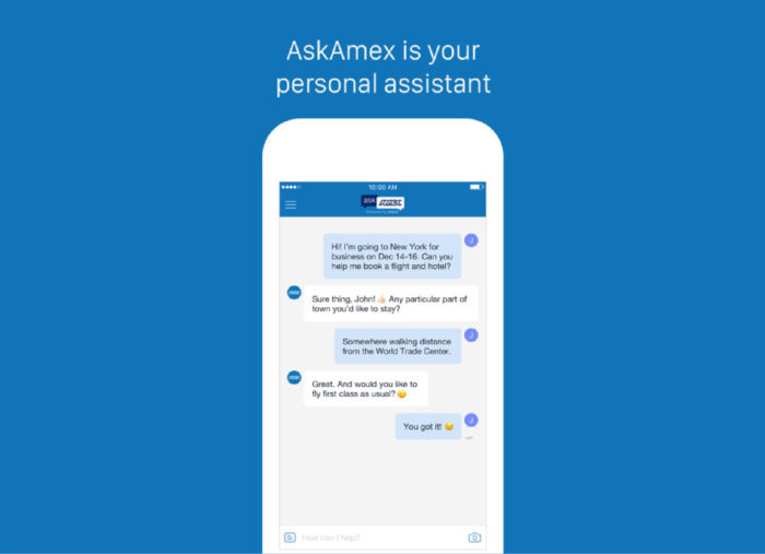 Illustration of the AskAmex app with a sample chat exchange between an individual and an American Express chat agent.