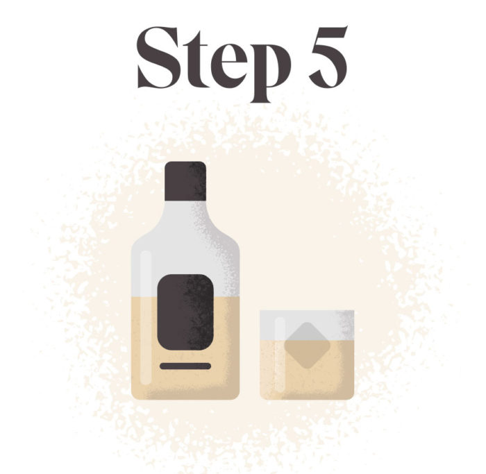 Step 5: A graphic of a half-full whiskey bottle and a glass of whiskey with an ice cube in it.