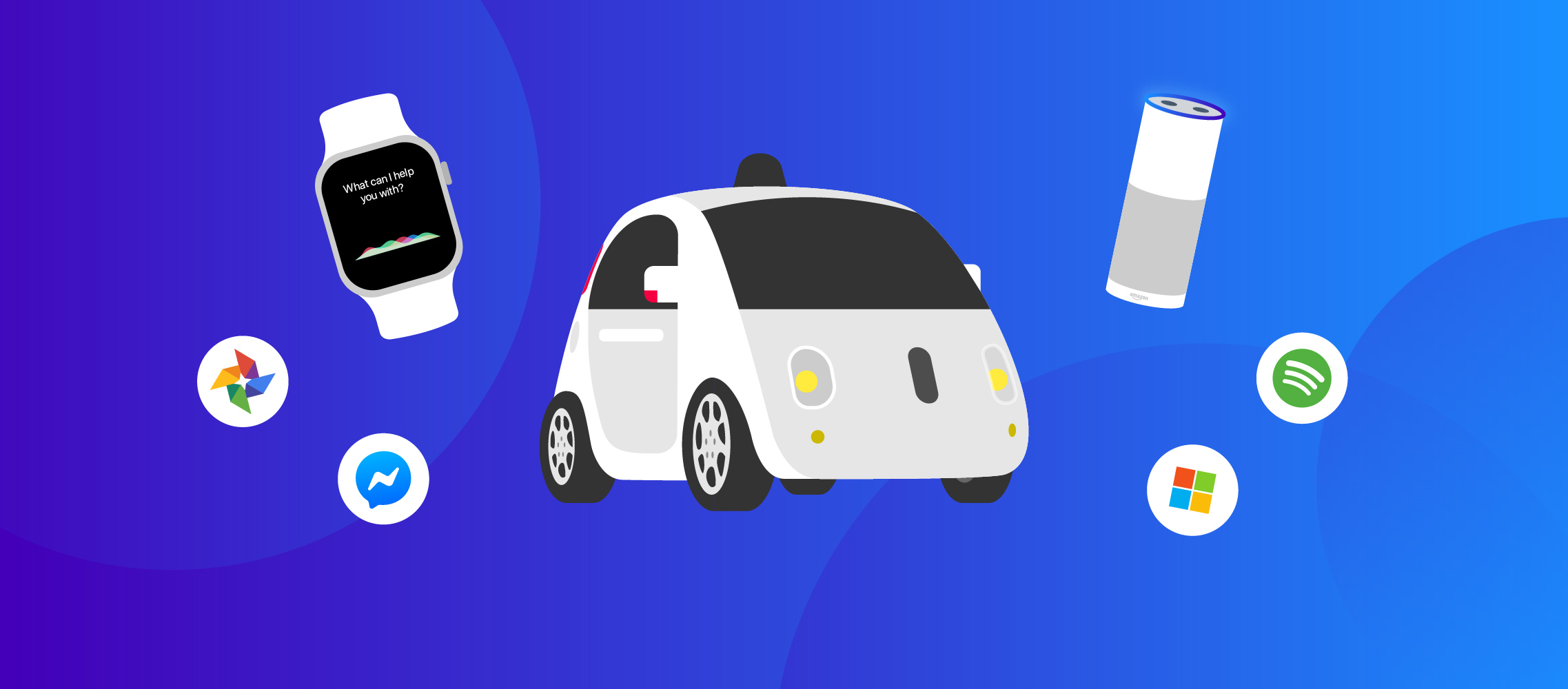 Illustration of Google driverless car, Amazon Echo, Apple watch, and logos for other AI-related applications.