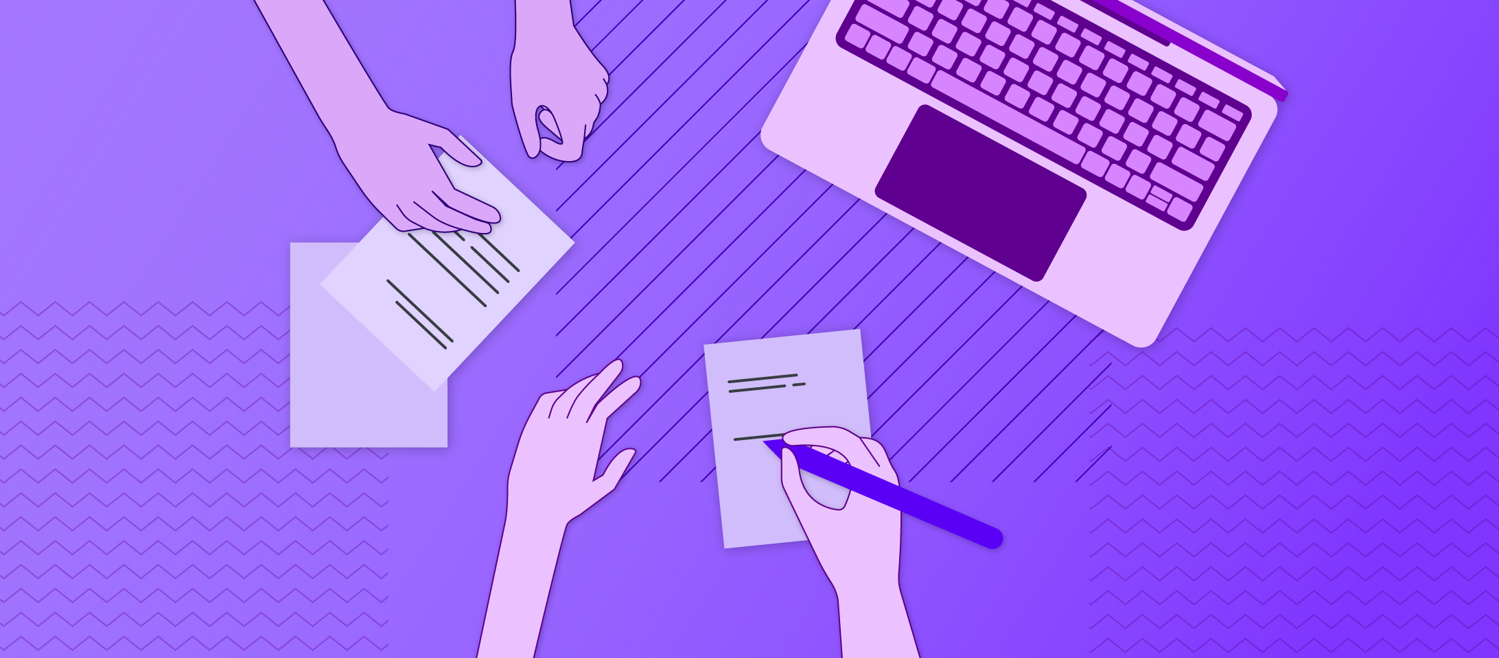 Illustration of an overhead view of two pairs of hands writing notes next to an open laptop