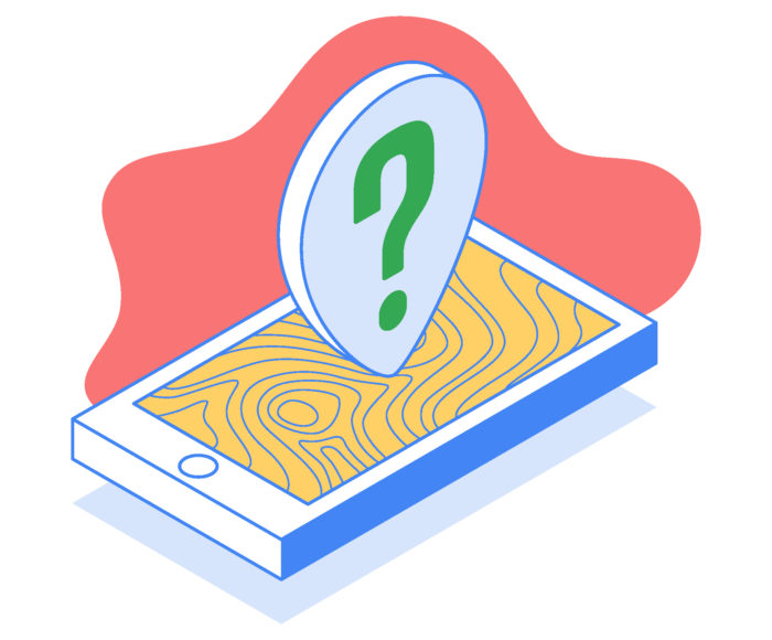 Graphic representation of a cellphone with a Google map app open and a large question mark locator icon
