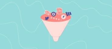 Graphic illustration of the conversion funnel with icons for Twitter, Facebook, and email at the top.