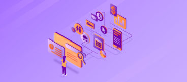 Purple and orange illustration of the complicated nature of attracting and retaining customers, with a woman looking at a search screen and various other processes in view behind the screen.